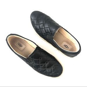 UGG Black Leather Quilted Fierce Deco Slip On